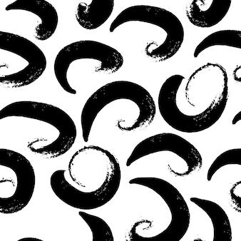 Dibujado a mano patrón transparente blanco y negro en estilo grunge.