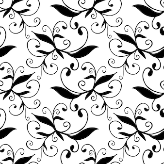 Dibujado a mano patrón transparente blanco y negro