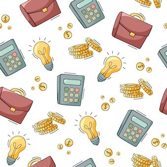 Dibujado a mano patrón transparente de ilustración de elementos de negocios y finanzas