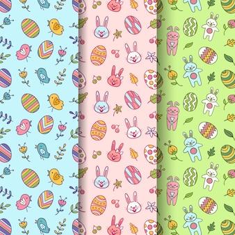 Dibujado a mano patrón transparente de pascua con huevos y conejos