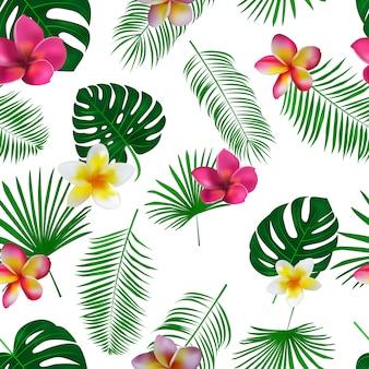 Dibujado a mano patrón tropical con flores de orquídeas y hojas de palmeras exóticas sobre fondo blanco.