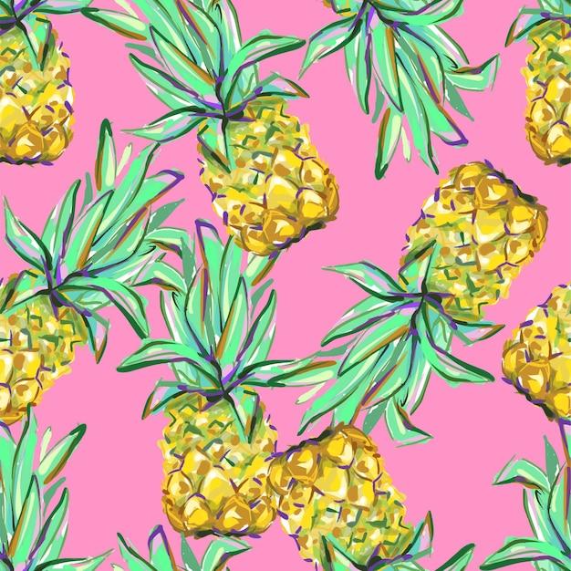Dibujado a mano patrón tropical de piña perfecta