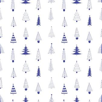 Dibujado a mano de patrones sin fisuras de árboles de navidad