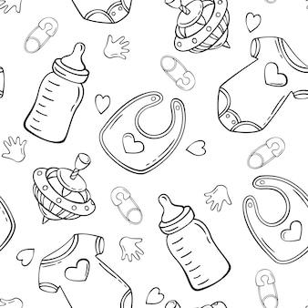 Dibujado a mano de patrones sin fisuras con el babero del bebé del perno de seguridad superior de la clavija de la botella de leche del mono del bebé en estilo del bosquejo del doodle