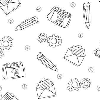 Dibujado a mano de patrones sin fisuras de elementos comerciales y financieros