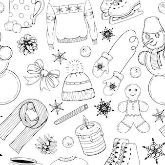 Dibujado a mano de patrones sin fisuras con elementos de invierno