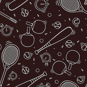 Dibujado a mano de patrones sin fisuras con equipamiento deportivo en el estilo de dibujo doodle