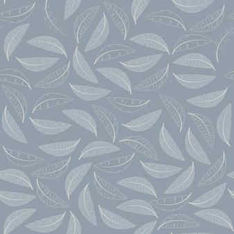 Dibujado a mano de patrones sin fisuras florales y telón de fondo. fondo elegante de la planta. intrincadas hojas suaves de invierno de navidad moderno. diseño para papel tapiz, textil, tela, envoltura. ilustración vectorial