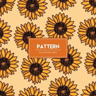 Dibujado a mano de patrones sin fisuras de flores naranjas