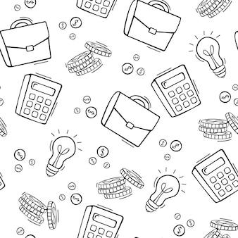 Dibujado a mano de patrones sin fisuras de la ilustración de elementos de negocios y finanzas