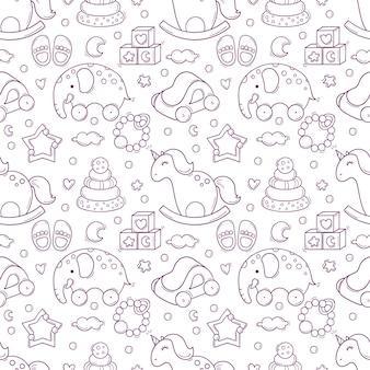 Dibujado a mano de patrones sin fisuras con juguetes y accesorios para bebés en blanco y negro