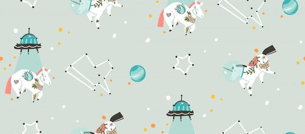 Dibujado a mano de patrones sin fisuras con la nave espacial cosmonauta unicornios y planetas en el cosmos aislado sobre fondo gris