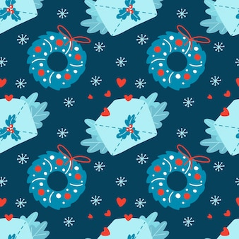 Dibujado a mano de patrones sin fisuras de navidad con copo de nieve de ramas de corazón de sobre de corona de navidad