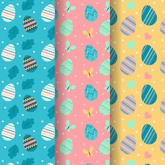 Dibujado a mano de patrones sin fisuras de pascua con huevos coloridos