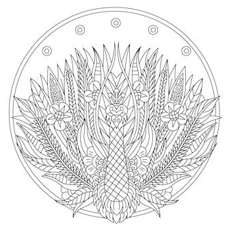 Dibujado a mano de pavo real en estilo zentangle