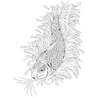Dibujado a mano de peces koi en estilo zentangle