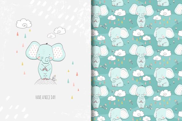 Dibujado a mano pequeña ilustración de elefante