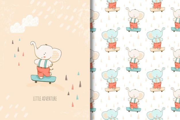 Dibujado a mano pequeña tarjeta de elefante y patrones sin fisuras para niños