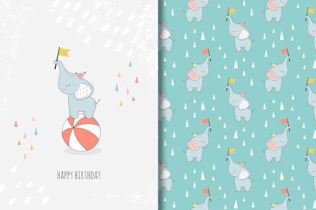 Dibujado a mano pequeña tarjeta de felicitación de elefante y patrones sin fisuras