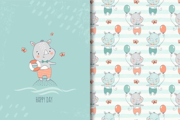 Dibujado a mano pequeña tarjeta de rinoceronte y patrones sin fisuras para niños