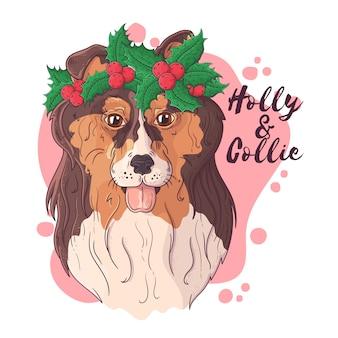 Dibujado a mano de perro collie en accesorios de navidad
