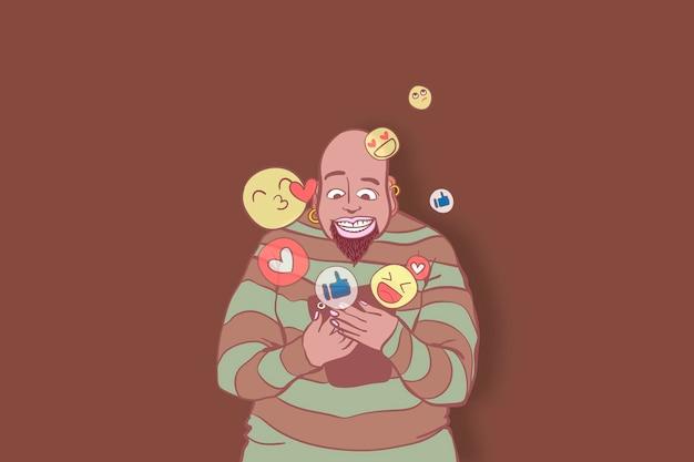 Dibujado a mano personaje adicto a las redes sociales