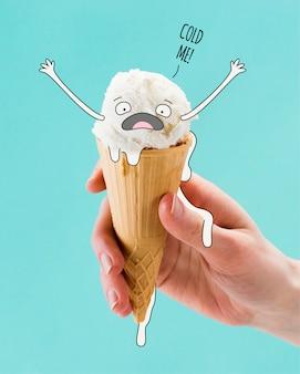 Dibujado a mano personaje de helado derretido