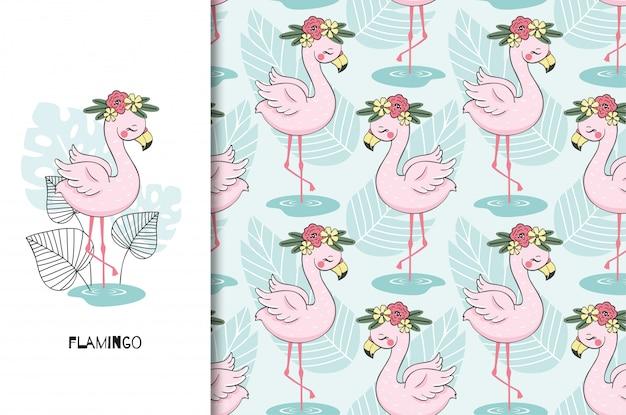 Dibujado a mano personaje lindo pájaro flamenco. cartel y conjunto de patrones sin fisuras. estilo de dibujos animados