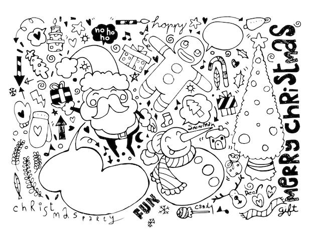 Dibujado a mano personajes de navidad y elementos