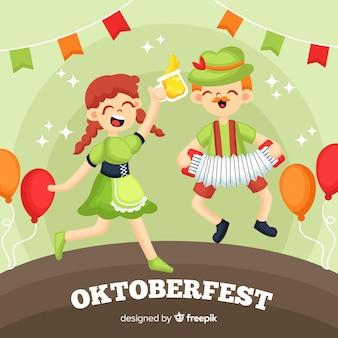 Dibujado a mano personas celebrando el oktoberfest