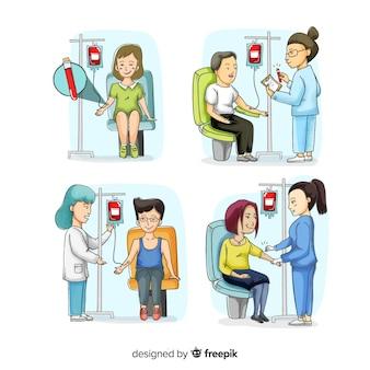 Dibujado a mano personas donando sangre