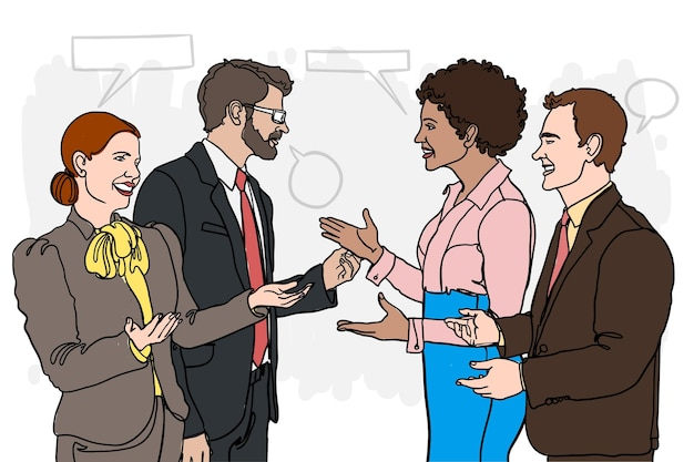 Dibujado a mano personas hablando