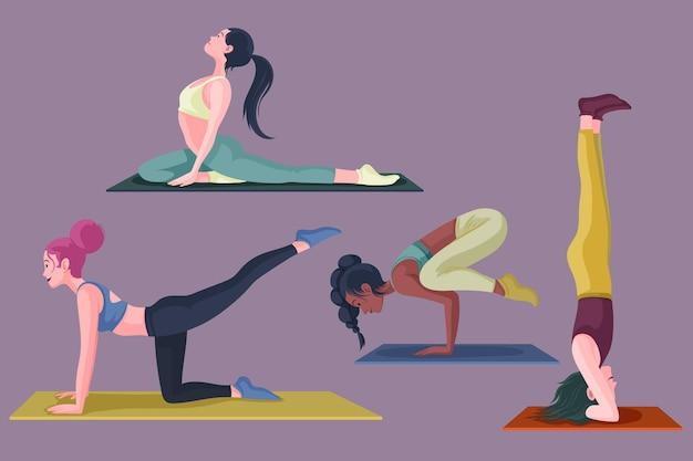 Dibujado a mano personas haciendo yoga