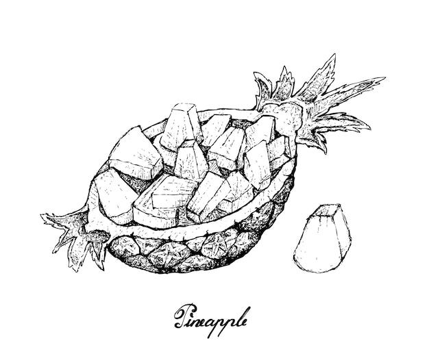 Dibujado a mano de piña orgánica dulce en rodajas frescas