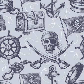 Dibujado a mano pirata de patrones sin fisuras