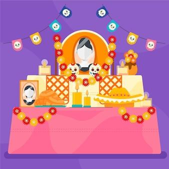 Dibujado a mano plana dia de muertos ilustración de altar de hogar familiar