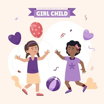 Dibujado a mano plano día internacional de la niña ilustración