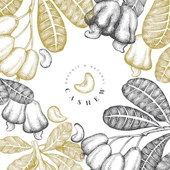 Dibujado a mano plantilla de anacardo boceto. ilustración de alimentos orgánicos en el fondo blanco. ilustración de tuerca vintage.