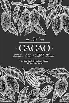 Dibujado a mano plantilla de banner de cacao.