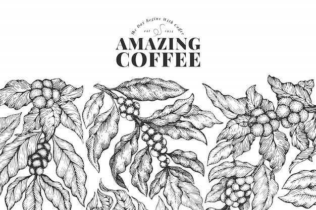 Dibujado a mano plantilla de banner de café.