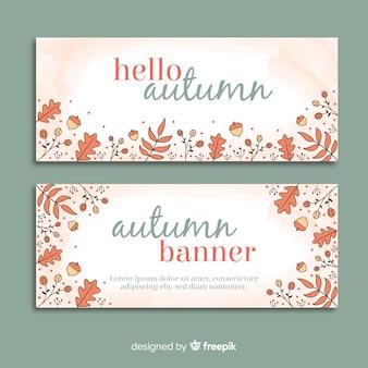Dibujado a mano plantilla de banner de otoño