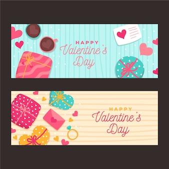 Dibujado a mano plantilla de banners del día de san valentín