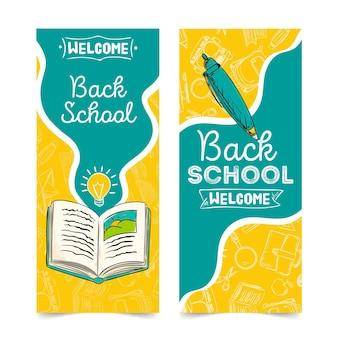 Dibujado a mano a la plantilla de banners de la escuela