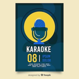 Dibujado a mano plantilla de cartel fiesta de karaoke