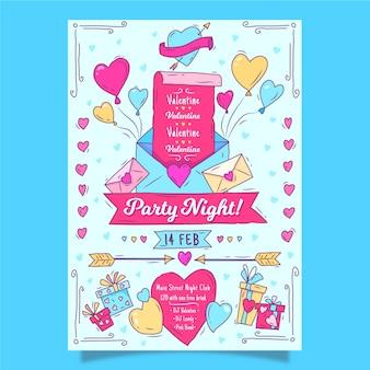 Dibujado a mano plantilla de cartel de fiesta de san valentín