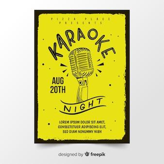 Dibujado a mano plantilla de cartel de karaoke