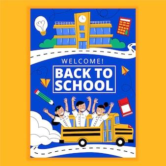 Dibujado a mano plantilla de cartel vertical de regreso a la escuela