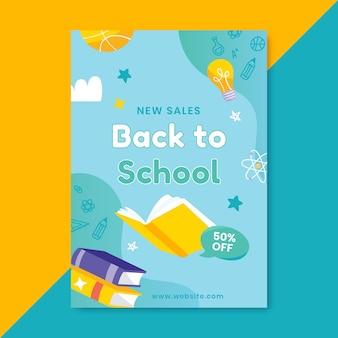 Dibujado a mano plantilla de cartel vertical de venta de regreso a la escuela