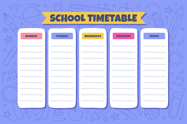 Dibujado a mano plantilla de horario de regreso a la escuela