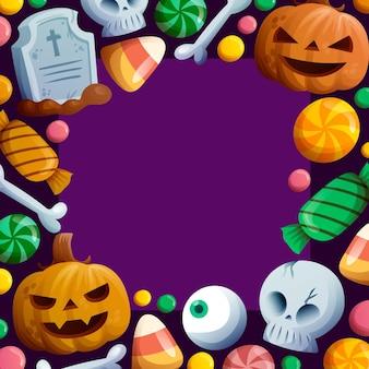 Dibujado a mano plantilla de marco de halloween